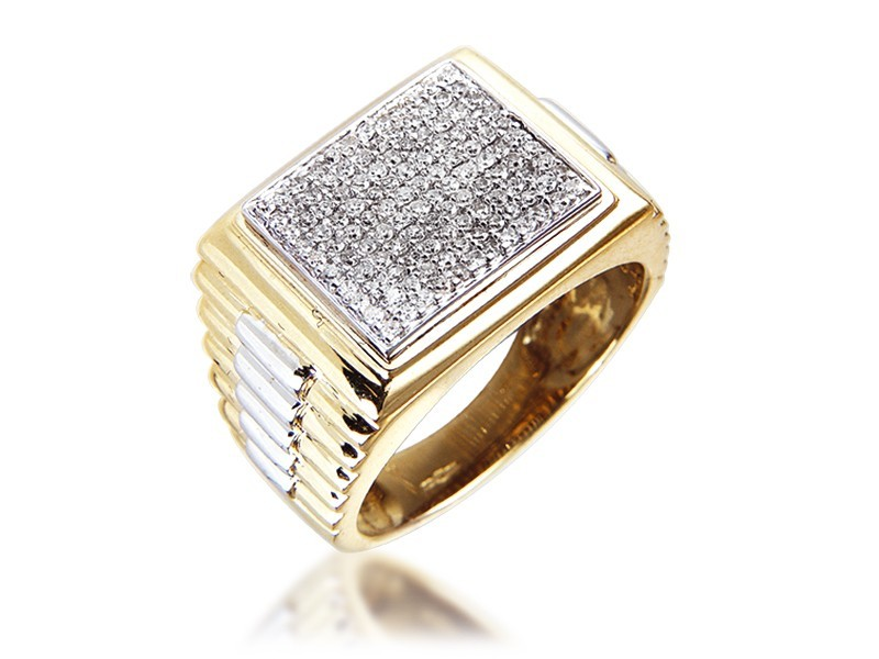 9ct Yellow & White Gold Mens Ring with 0.50ct Diamonds.