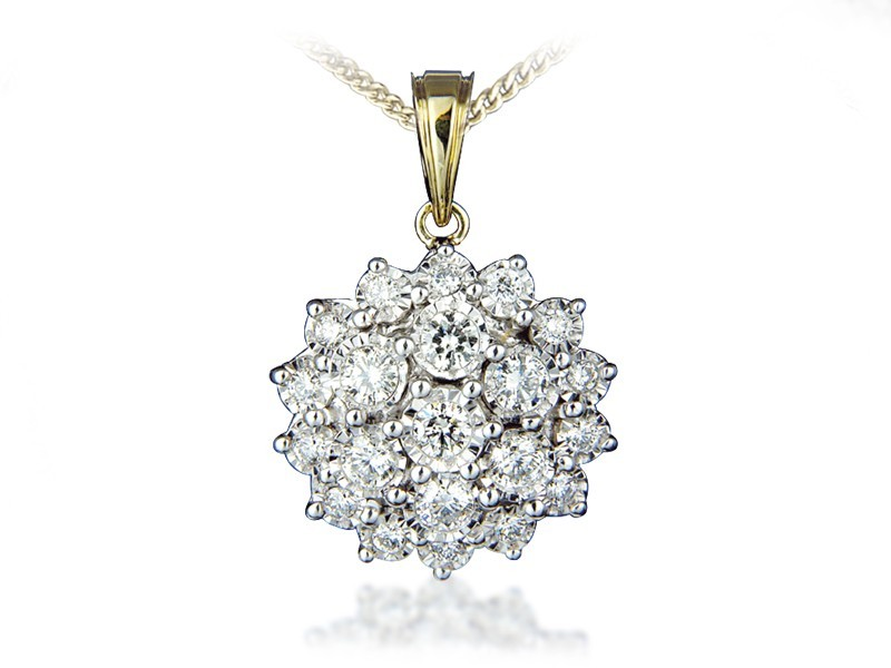 9ct Yellow Gold Pendant with 1.00ct Diamonds.