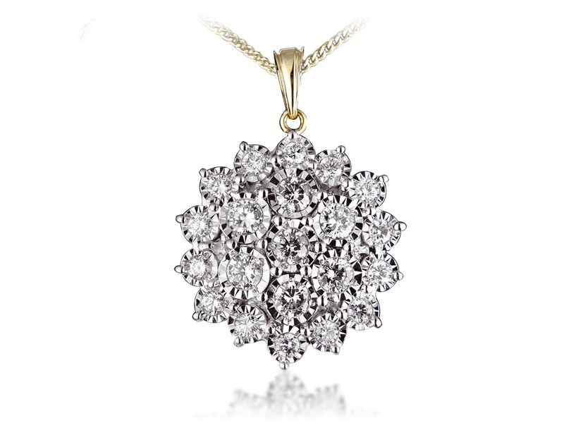 9ct Yellow Gold Pendant with 2.00ct Diamonds.