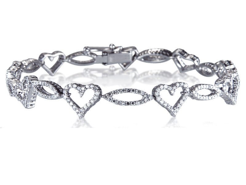 9ct White Gold & 1.60ct Diamonds Bracelet