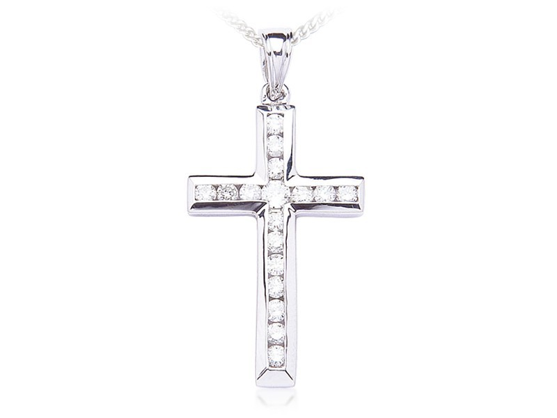 9ct White Gold Cross with 1.00ct Diamonds.