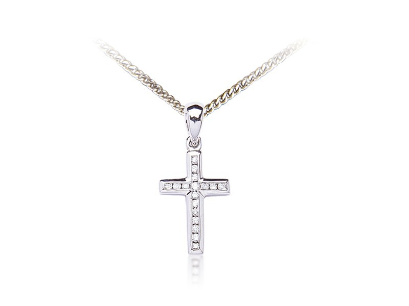 9ct White Gold Cross with 0.11ct Diamonds.