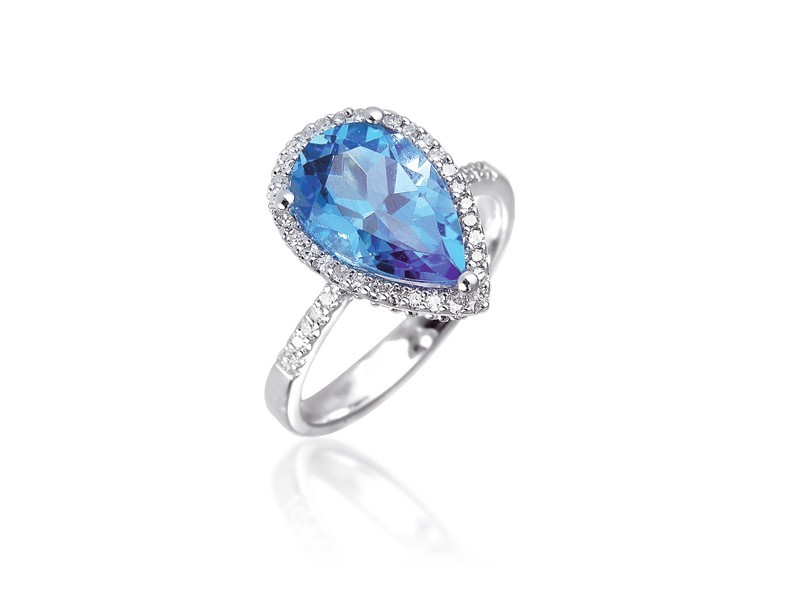 9ct White Gold ring set with Diamonds & 3.40ct Pear Shape Blue Topaz Centre Stone