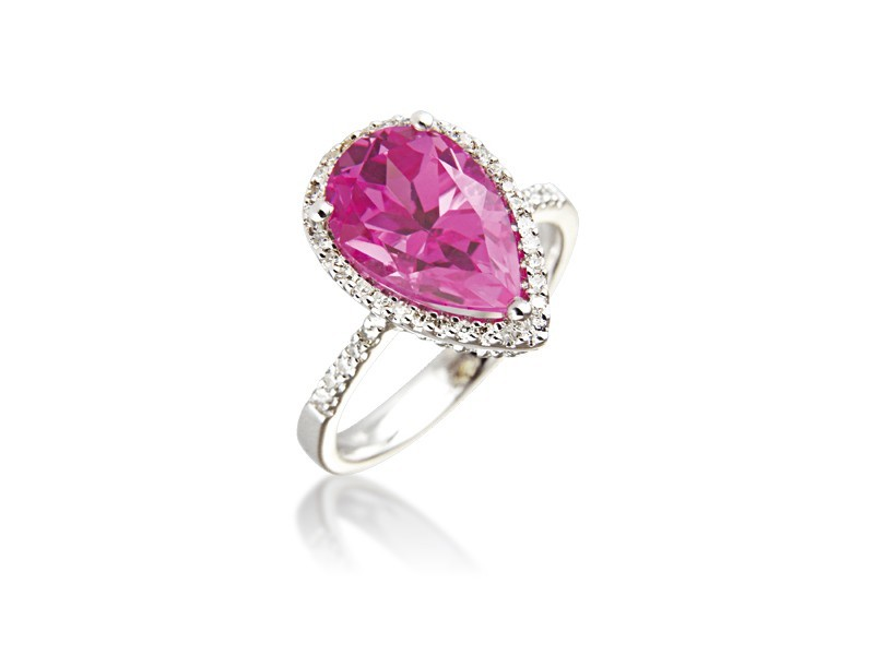 9ct White Gold ring set with Diamonds & 4.00ct Pear Shape Synthetic Pink Sapphire Centre Stone