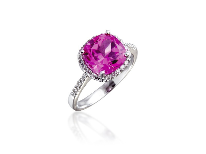 9ct White Gold ring set with Diamonds & 2.75ct Synthetic Pink Sapphire Centre Stone