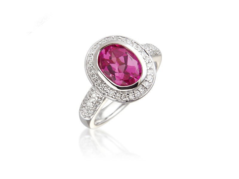 9ct White Gold ring set with Diamonds & 3.30ct Oval Shape Synthetic Pink Sapphire Centre Stone