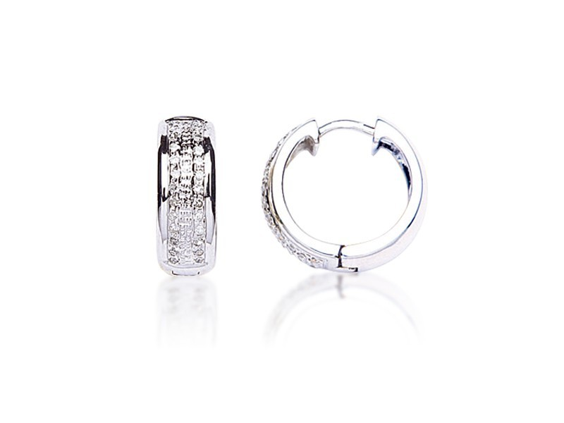 9ct White Gold 0.25ct Diamond Hoop Earrings
