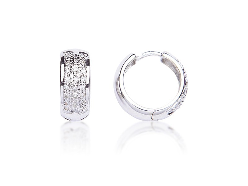9ct White Gold 0.20ct Diamond Hoop Earrings