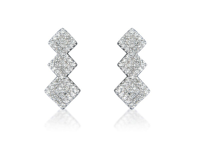 9ct White Gold 0.30ct Diamond Drop Earrings