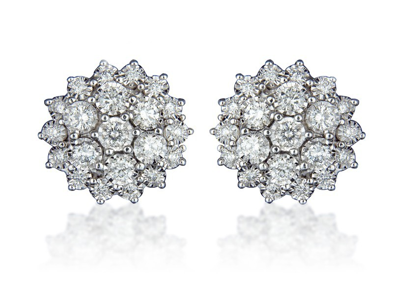 9ct White Gold 2.00ct Diamond Stud Earrings