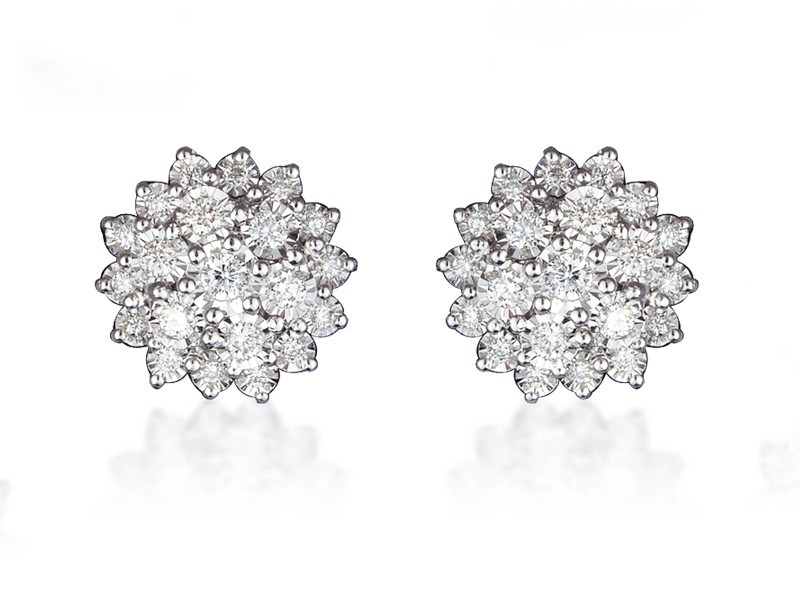 9ct White Gold 1.00ct Diamond Stud Earrings