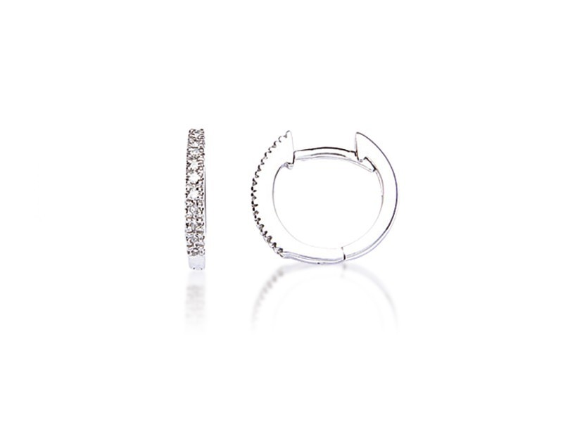 9ct White Gold 0.09ct Diamond Hoop Earrings