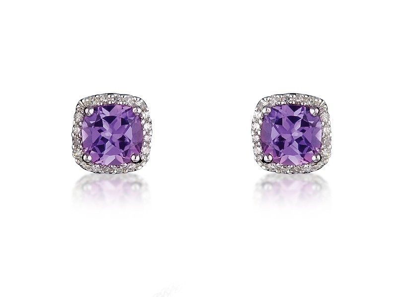 9ct White Gold Diamonds & 3.00ct Amethyst  Stud Earrings