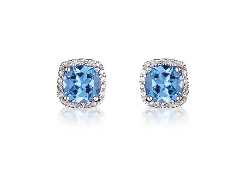 9ct White Gold Diamonds & 3.00ct Blue Topaz Stud Earrings