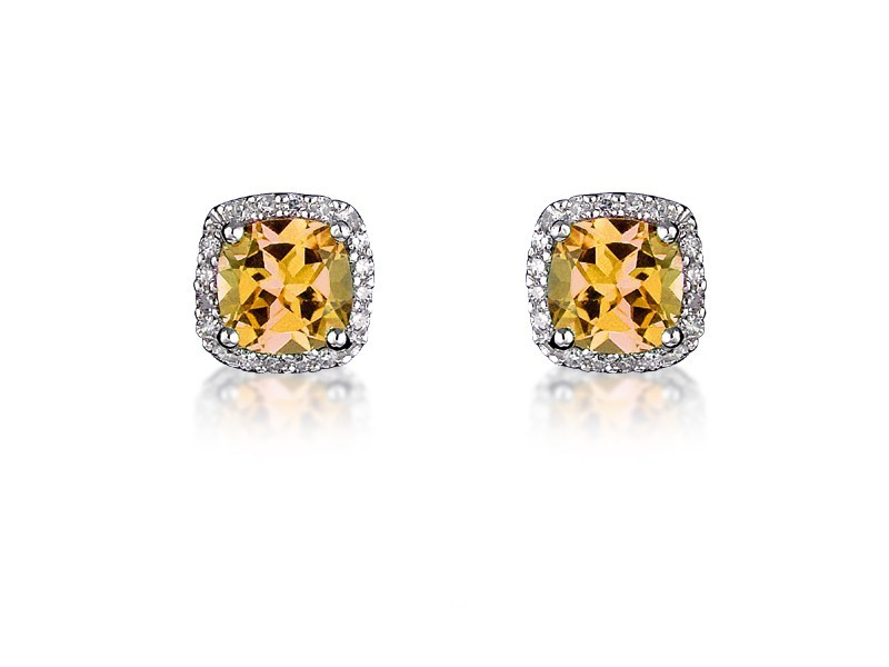 9ct White Gold Diamonds & 3.00ct Citrine Stud Earrings