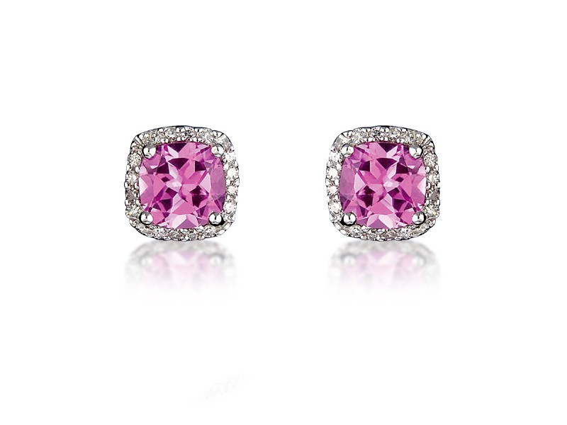 9ct White Gold Diamonds & 3.00ct Synthetic Pink Sapphire Stud Earrings