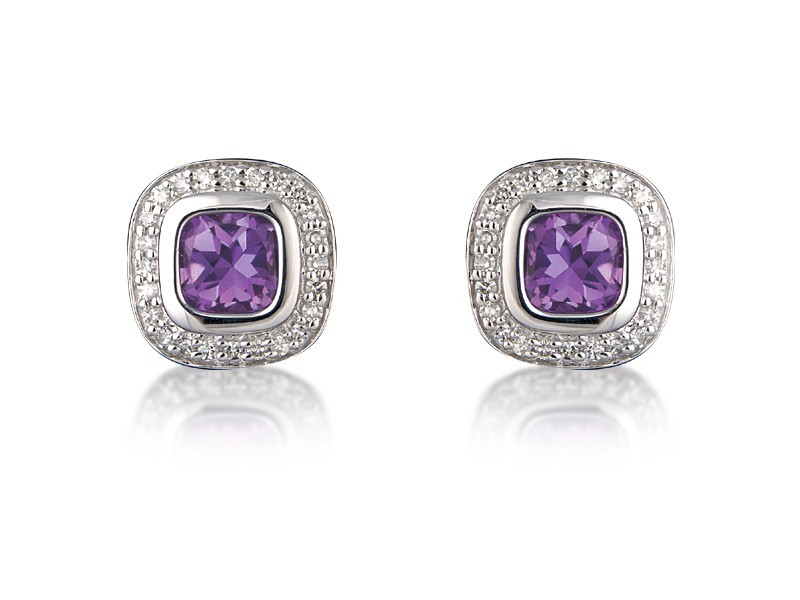 9ct White Gold Diamonds & 3.20ct Amethyst Stud Earrings