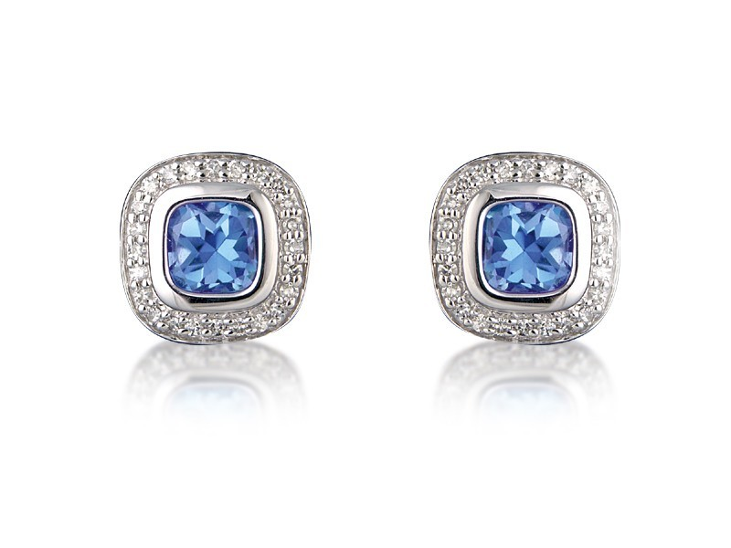 9ct White Gold Diamonds & 3.20ct Blue Topaz Stud Earrings