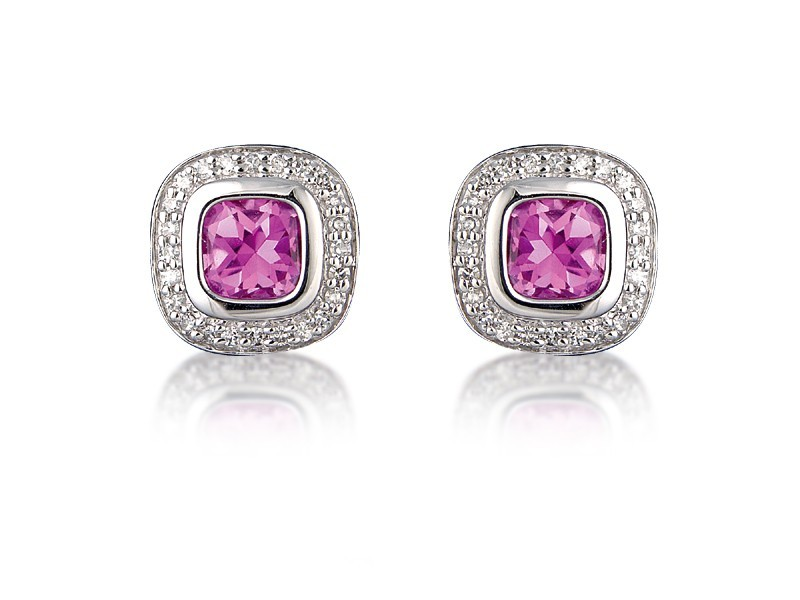 9ct White Gold Diamonds & 3.20ct Synthetic Pink Sapphire Stud Earrings