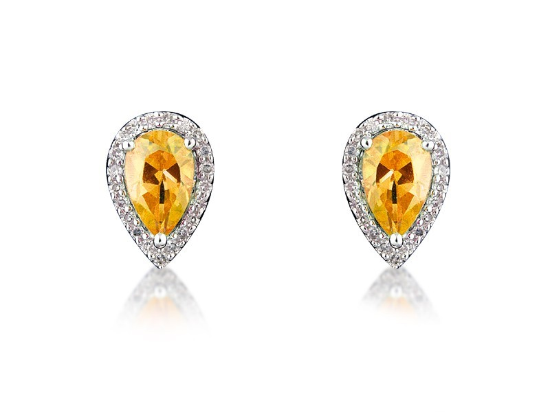 9ct White Gold Diamonds & 2.50ct Citrine Pear Shape Stud Earrings