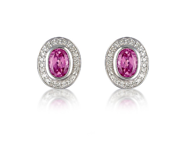 9ct White Gold Diamonds & 2.50ct Synthetic Pink Sapphire Oval Shape Stud Earrings