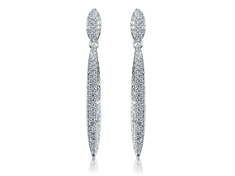 9ct White Gold 0.60ct Diamond Drop Earrings