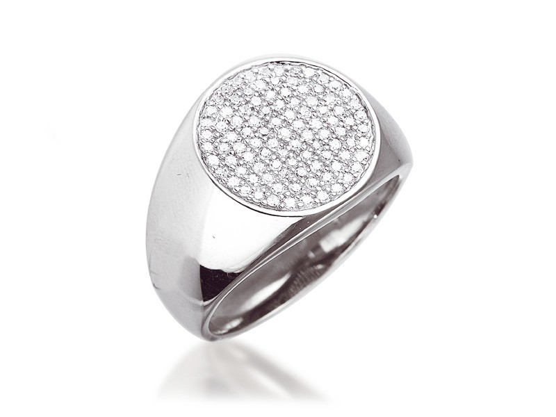 9ct White Gold Mens Ring with 0.40ct Diamonds.