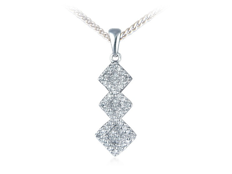 9ct White Gold Pendant with 0.15ct Diamonds.