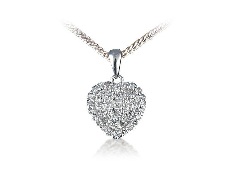 9ct White Gold Pendant with 0.25ct Diamonds