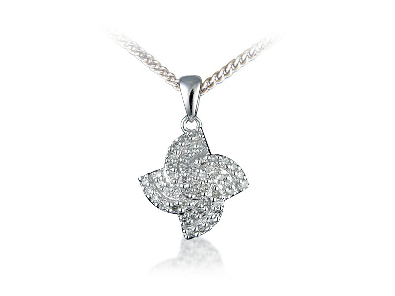 9ct White Gold Pendant with 0.20ct Diamonds.