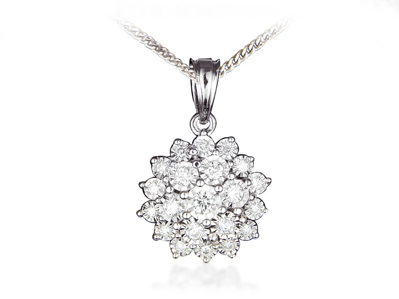 9ct White Gold Pendant with 0.50ct Diamonds.