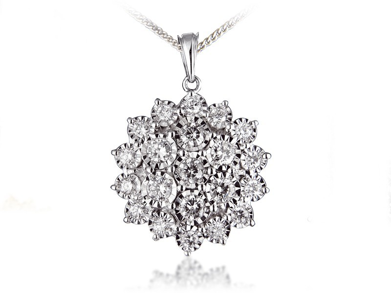 9ct White Gold Pendant with 2.00ct Diamonds.