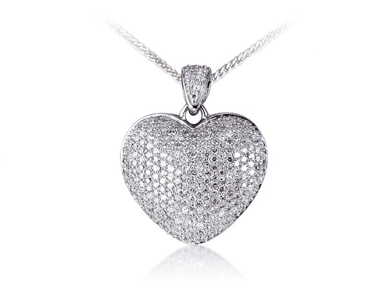 9ct White Gold Pendant with 1.00ct Diamonds.