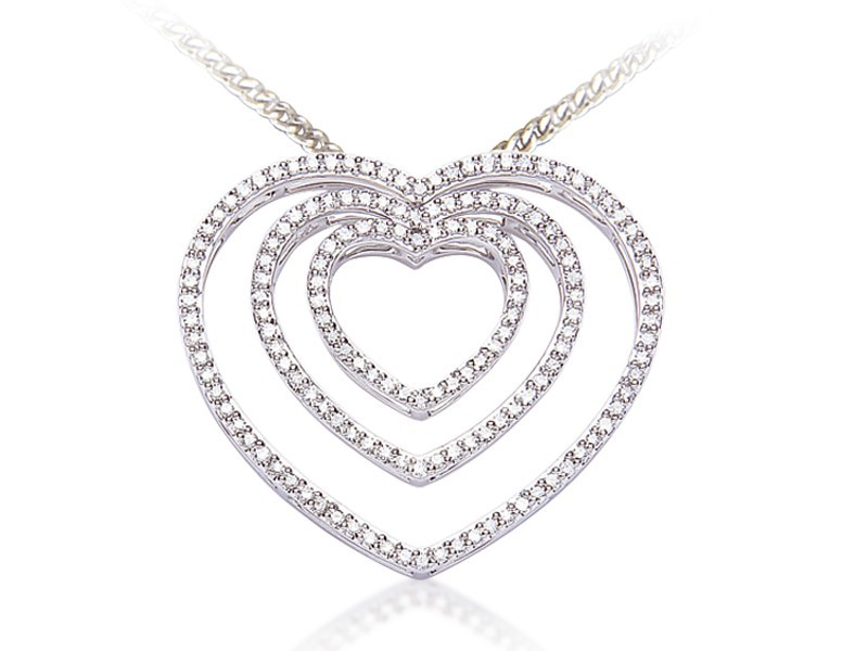 9ct White Gold Pendant with 0.68ct Diamonds.