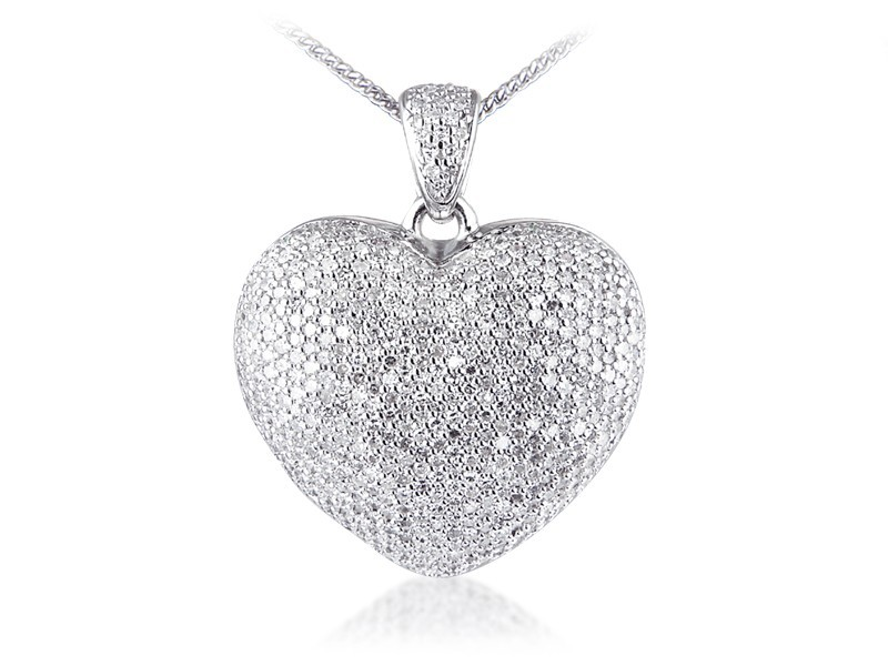 9ct White Gold Pendant with 1.85ct Diamonds.