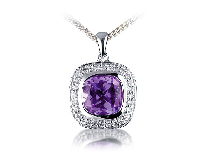 9ct White Gold Pendant with Diamonds & 3.50ct Amethyst Centre Stone