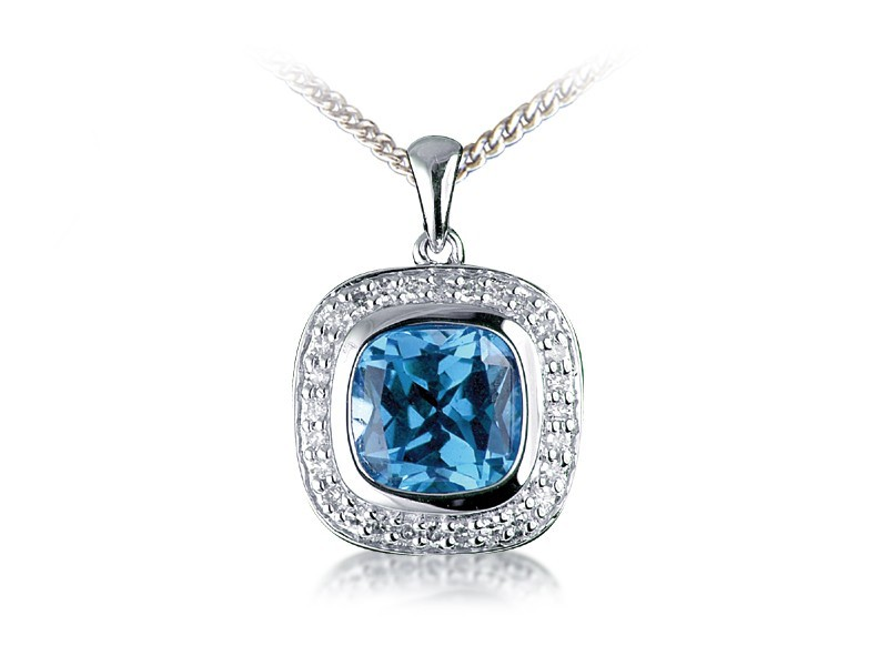 9ct White Gold Pendant with Diamonds & 3.50ct Blue Topaz Centre Stone