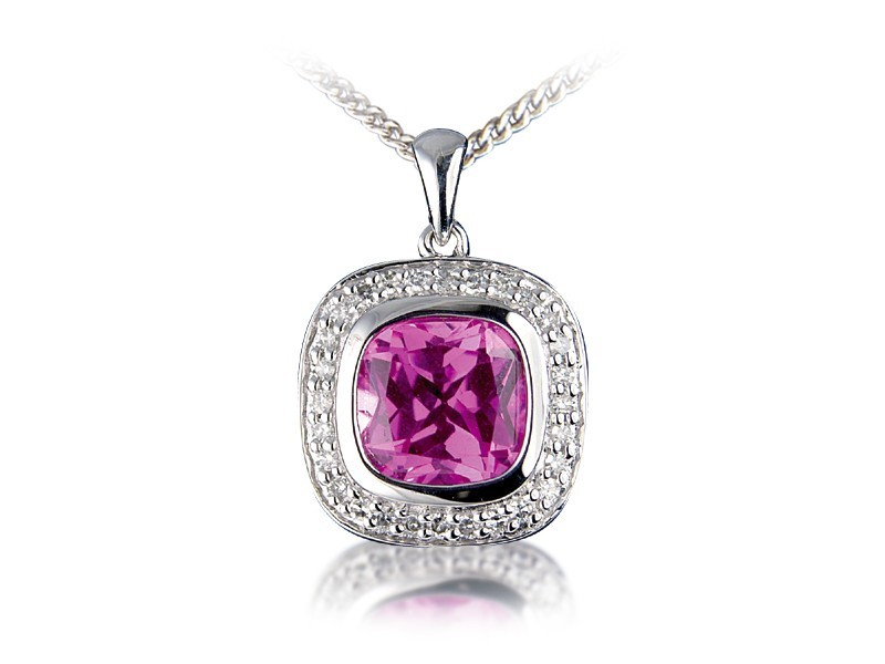 9ct White Gold Pendant with Diamonds & 3.50ct Synthetic Pink Sapphire Centre Stone