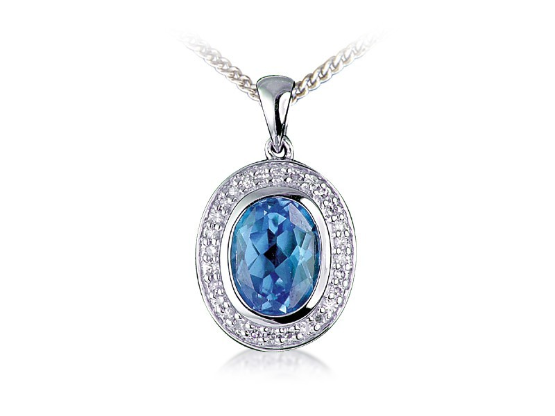 9ct White Gold Pendant with Diamonds & 2.60ct Oval Shape Blue Topaz Centre Stone