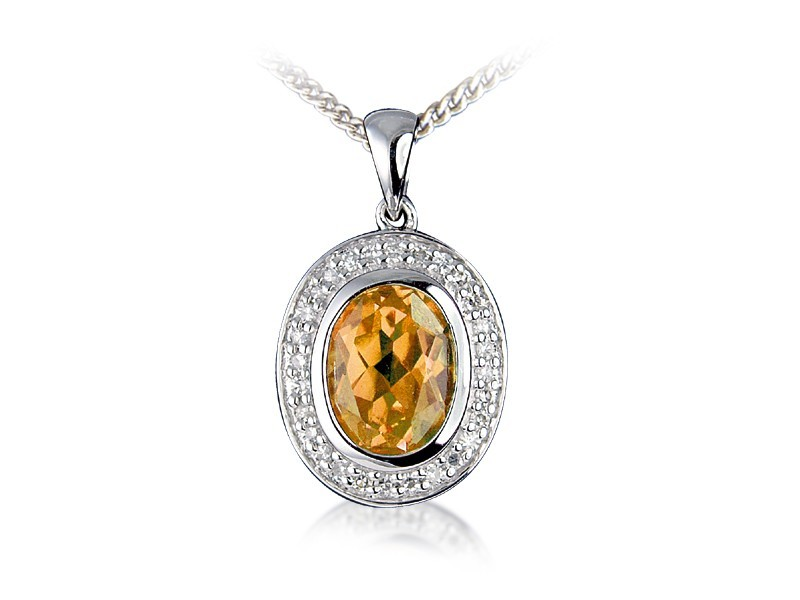 9ct White Gold Pendant with Diamonds & 2.60ct Oval Shape Citrine Centre Stone