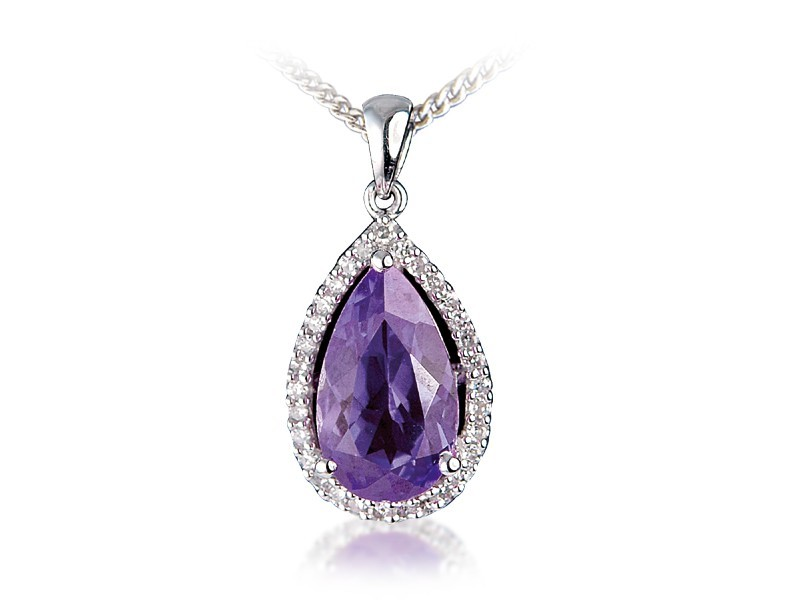 9ct White Gold Pendant with Diamonds & 4.00ct Pear Shape Amethyst Centre Stone