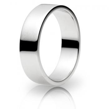 9ct White Gold 6mm Flat Shape Wedding Band 7.6gms