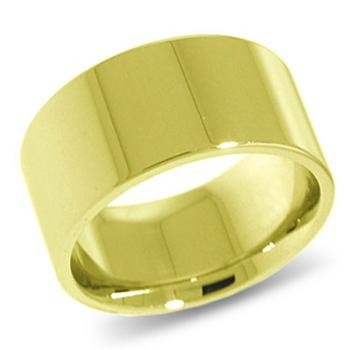 9ct Yellow Gold 10mm Flat Shaped Wedding Band 10.5gms