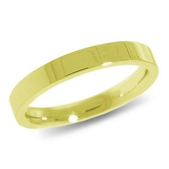 9ct Yellow Gold 3mm Flat Shaped Wedding Band 3.5gms