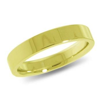 9ct Yellow Gold 4mm Flat Shaped Wedding Band 4.10gms