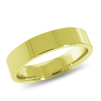 9ct Yellow Gold 5mm Flat Shaped Wedding Band 6.0gms