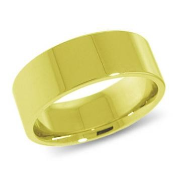 9ct Yellow Gold 8mm Flat Shaped Wedding Band 8.5gms