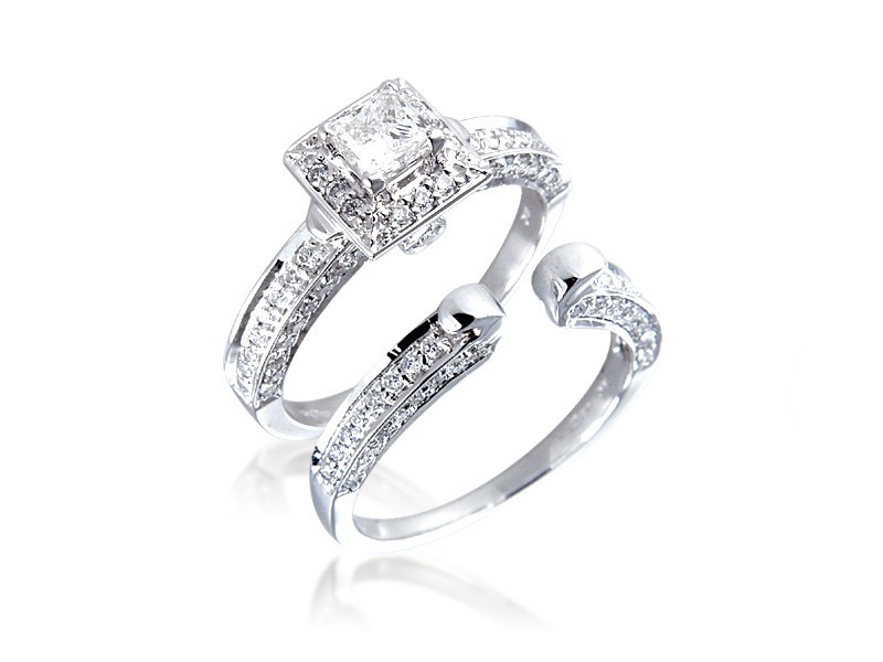 Platinum 1.10ct Diamonds Bridal Set